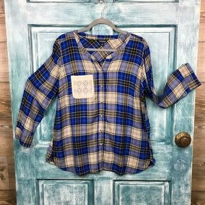 Lucky Brand Plaid Shirt/Blue&Tan/Large